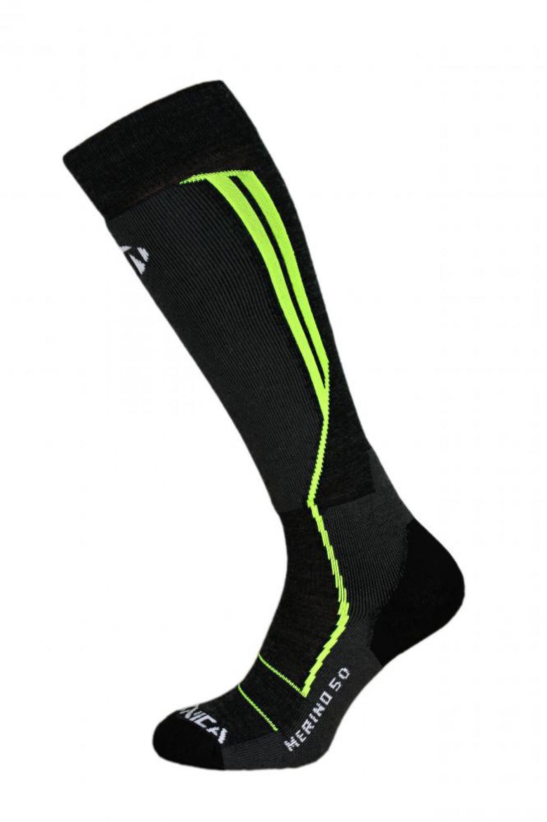 Merino 50 ski socks, black/neon yellow